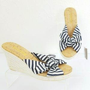 Chico's Shoes - Chicos Sheri Wedge Espadrille Striped Sandal